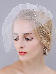 cheap -One-tier Cut Edge Wedding Veil Blusher Veils with Rhinestone Tulle / Birdcage
