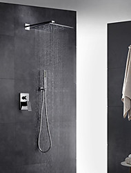 cheap -Contemporary Art Deco/Retro Modern Wall Mounted Rain Shower Pullout Spray Thermostatic Brass Valve Two Holes Single Handle Two Holes Bath Shower Mixer Taps
