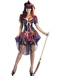 Недорогие -ведьма Косплэй Kостюмы Жен. Хэллоуин Фестиваль / праздник Спандекс Терилен Лиловый Мужской Карнавальные костюмы другое