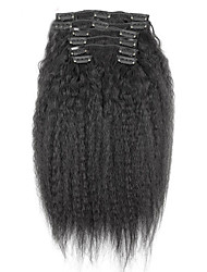 cheap -new brazilian 100 human hair clip ins afro kinky curly clip ins extensions in hair weaves natural black color 7 pcs set