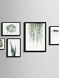 cheap -Framed Canvas Framed Set Landscape Floral/Botanical Wall Art, PVC Material With Frame Home Decoration Frame Art Living Room Bedroom