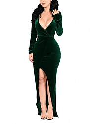 cheap -Women's Velvet Maxi Plus Size Wine Green Dress Spring Cocktail Party Prom Bodycon Solid Colored Deep V Split Wrap S M Skinny / Sexy