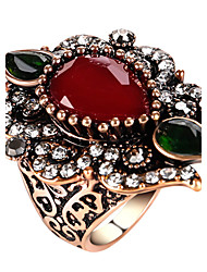 cheap -Women's Statement Ring Ring thumb ring Red Green Blue Glass Alloy Geometric Statement Ladies Personalized Party Anniversary Jewelry
