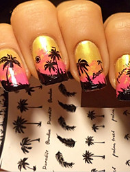 cheap -water transfer printing coconut tree nail stickers