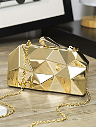 cheap -Women's Bags Alloy Evening Bag Chain Plaid Solid Colored Party Wedding Event / Party Evening Bag Wedding Bags Handbags Sillver Gray Gold Silver