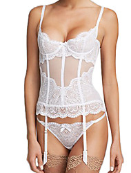 cheap -Women's Hook & Eye Overbust Corset - Jacquard White XL XXL XXXL / Sexy