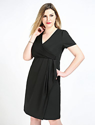 cheap -Women's Plus Size Black Dress Vintage Party Daily Shift Sheath Tunic Solid Colored V Neck Ruched L XL