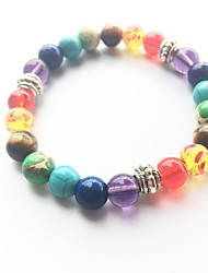 cheap -Turquoise Bead Bracelet Yoga Bracelet Beads Rainbow Natural Fashion energy Healing Stone Bracelet Jewelry Rainbow For Wedding Party Sports