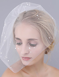 cheap -One-tier Cut Edge Wedding Veil Blusher Veils with Pearl Tulle / Classic
