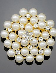 cheap -Women's Girls' Brooches Flower Pearl Crystal Brooch Jewelry White Gold For Wedding Party Special Occasion Daily