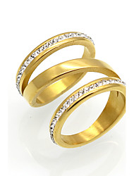 cheap -Men's Women's Band Ring AAA Cubic Zirconia Gold Silver 18K Gold Plated Cubic Zirconia Titanium Steel Round Circular Circle Personalized Geometric Unique Design Wedding Party Jewelry
