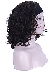 cheap -gorgeous headband wig shoulder length dark brown soft silky bouncy curls wig