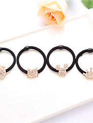 cheap -South Korea Headdress Rhinestones Rhododendron Flower Rubber Band Hair Ring Headband Droop 10pcs