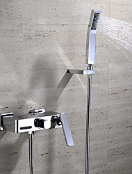 cheap -Bathtub Faucet - Contemporary Chrome Wall Mounted Ceramic Valve Bath Shower Mixer Taps / Two Handles Three Holes