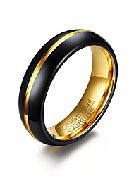 cheap -Men's Ring Black Stainless Steel Gold Plated Tungsten Steel Round Circle Geometric Personalized Basic Simple Style Party Anniversary Jewelry Two tone