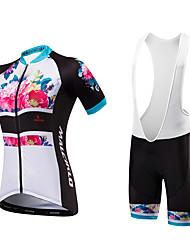 cheap -Malciklo Women's Short Sleeve Cycling Jersey with Bib Shorts Floral Botanical Plus Size Bike Bib Shorts Jersey Padded Shorts / Chamois Breathable Anatomic Design Reflective Strips Back Pocket