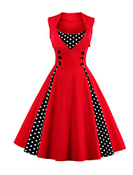 cheap -Women's Plus Size Going out Vintage Party 1950s A Line Dress - Polka Dot Patchwork Red, Polka Dots Button Color Block Wine Fuchsia Green S M L XL