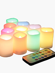 cheap -10 Pack Flameless Flickering Battery operated Votive Candles with Color changing Remote LED Tea Lights Decorative for Halloween Christmas Wedding Party Event Home Kitchen Decorations Decor Supplies Ba