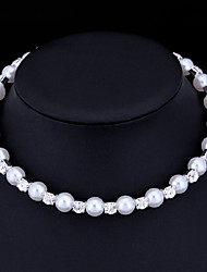 cheap -Women's Pearl AAA Cubic Zirconia Choker Necklace Ladies Basic Imitation Pearl Cubic Zirconia White Necklace Jewelry For Wedding Special Occasion Gift Casual Engagement Valentine