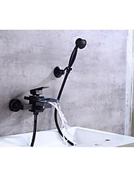 cheap -Bathtub Faucet - Contemporary Oil-rubbed Bronze Tub And Shower Ceramic Valve Bath Shower Mixer Taps / Brass / Single Handle Two Holes