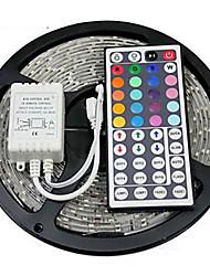 abordables -zdm 5m étanche 300 x 2835 8mm led bandes RVB lumière flexible et ir 44key télécommande linkable auto-adhésif changeant de couleur