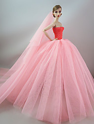cheap -Doll Dress Wedding For Barbiedoll Synthetic Yarn Polyester Spandex Lycra Dress For Girl's Doll Toy