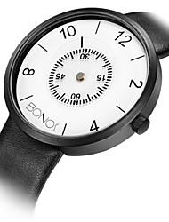 cheap -Men's Fashion Watch Quartz Genuine Leather Black Analog White Black
