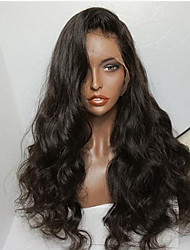 cheap -Human Hair Glueless Lace Front Lace Front Wig style Brazilian Hair Natural Wave Wig 130% Density with Baby Hair Natural Hairline African American Wig 100% Hand Tied Women's Short Medium Length Long