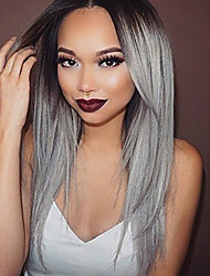 cheap -Synthetic Lace Front Wig Straight Straight Lace Front Wig Long Black / Grey Synthetic Hair Women's Ombre Hair Dark Roots Natural Hairline Gray