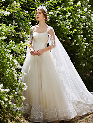 cheap -Ball Gown Wedding Dresses Square Neck Watteau Train Lace Over Tulle Regular Straps Sparkle & Shine Floral Lace with Crystal Beading Sequin 2020