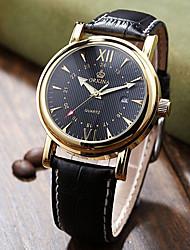 cheap -Men's Fashion Watch Quartz Leather Black / Brown Analog White Black