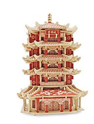Недорогие -3D пазлы Пазлы Наборы для моделирования Знаменитое здание деревянный В китайском стиле Универсальные Игрушки Подарок