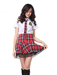 cheap -Student / School Uniform Cosplay Costume Party Costume Women's School Uniforms Halloween Carnival Festival / Holiday Polyester Red / White Carnival Costumes Plaid