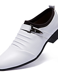 cheap -Men's Dress Shoes Leather Comfort Oxfords White / Black