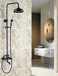 cheap -Shower System Set - Rainfall Antique Oil-rubbed Bronze Shower System Ceramic Valve Bath Shower Mixer Taps / Brass / Two Handles Three Holes
