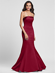 cheap -Mermaid / Trumpet Strapless Floor Length Satin Bridesmaid Dress with Side Draping
