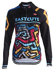 cheap -Fastcute Men's Women's Long Sleeve Cycling Jersey Winter Fleece Coolmax® Polyester Plus Size Bike Sweatshirt Jersey Top Mountain Bike MTB Road Bike Cycling Breathable Quick Dry Reflective Strips