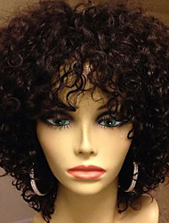 cheap -Human Hair Glueless Lace Front Lace Front Wig style Brazilian Hair Kinky Curly Wig 130% Density with Baby Hair Natural Hairline African American Wig 100% Hand Tied Women's Short Medium Length Human