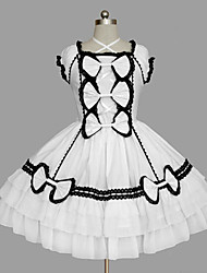 cheap -Princess Sweet Lolita Summer Dress Women's Girls' Cotton Japanese Cosplay Costumes White Solid Colored Bowknot Cap Sleeve Sleeveless Short / Mini / Tuxedo / High Elasticity