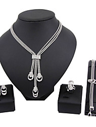 cheap -Women's Jewelry Set Necklace / Bracelet Bridal Jewelry Sets Classic Fashion Euramerican Rhinestone Silver Plated Earrings Jewelry Silver For Christmas Gifts Wedding Party Special Occasion Halloween