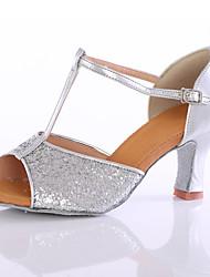 cheap -Women's Dance Sneakers Heel Customized Heel Paillette Gold / Silver / Indoor