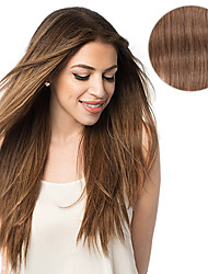 cheap -7 pcs set clip in hair extensions chestnut brown 14inch 18inch 100 human hair for women