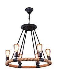 Недорогие -QINGMING® 6-Light 55 cm Конструкторы Подвесные лампы Металл Окрашенные отделки Ретро 110-120Вольт / 220-240Вольт