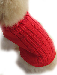 cheap -Dog Sweater Winter Dog Clothes Brown Red Blue Costume Woolen Solid Colored XS S M