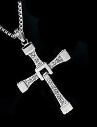 cheap -Men's Synthetic Diamond Pendant Necklace Cross Ladies Luxury Fashion Zircon Imitation Diamond Alloy Silver Necklace Jewelry For Wedding Party Daily Casual