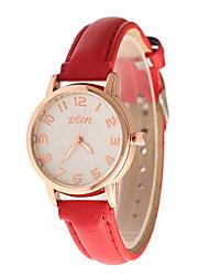 Недорогие -Жен. Модные часы Кварцевый Кожа Группа Повседневная Черный Белый Красный Фиолетовый