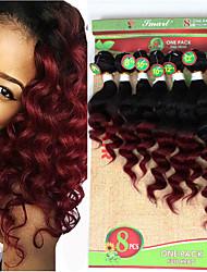 cheap -Hair Weaves Brazilian Hair Loose Wave Deep Wave Human Hair Extensions Virgin Human Hair Ombre Hair Weaves / Hair Bulk Ombre / Medium Length