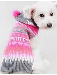 cheap -Dog Sweater Hoodie Winter Dog Clothes Fuchsia Christmas Costume Silk Fabric Cotton Geometic Casual / Daily Fashion XS S M L XL