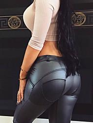 Недорогие -Жен. Большие размеры Спорт Тонкие Брюки - Однотонный Чистый цвет Полиуретановая Зима Черный XL XXL XXXL
