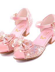 cheap -Girls' Comfort / Novelty / Flower Girl Shoes Microfiber Sandals Little Kids(4-7ys) / Big Kids(7years +) Walking Shoes Bowknot / Buckle White / Dusty Rose / Blue Summer / Party & Evening / EU37